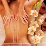 Masseur doing massage on woman back in spa salon